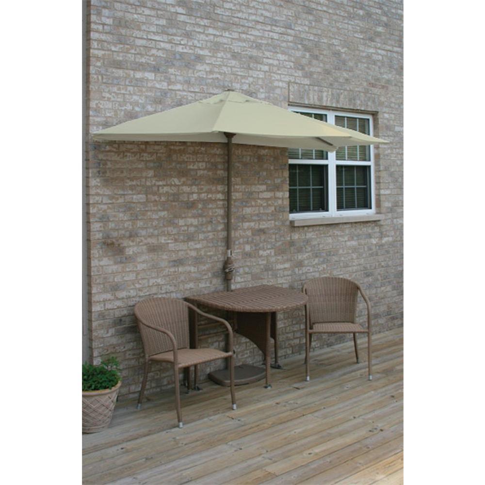 Blue Star Group Terrace Mates Genevieve 5-Piece Coffee Patio Bistro Set with 9 ft. Antique Beige Sunbrella Half-Umbrella
