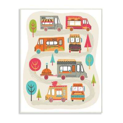 "12.5 in. x 18.5 in. ""Mod Illustration Quirky Food Trucks And Trees"" by Allison Cole Wood Wall Art"
