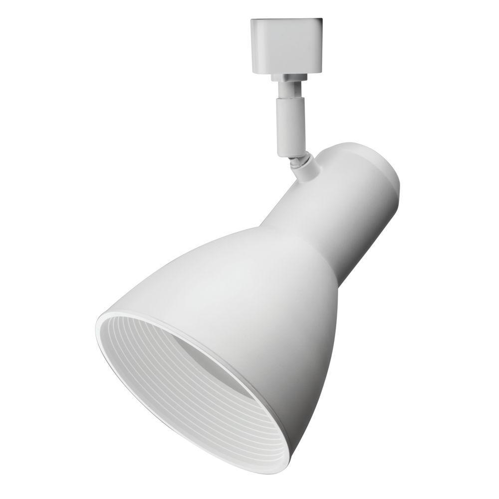 Step Baffle 1-Light White Track Lighting