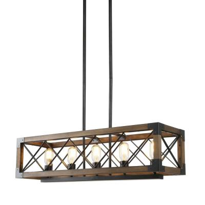 Solid Wood Modern Farmhouse Chandelier, Black Hanging Light Rustic Kitchen Island Lighting, 5-Light Pendant Chandelier