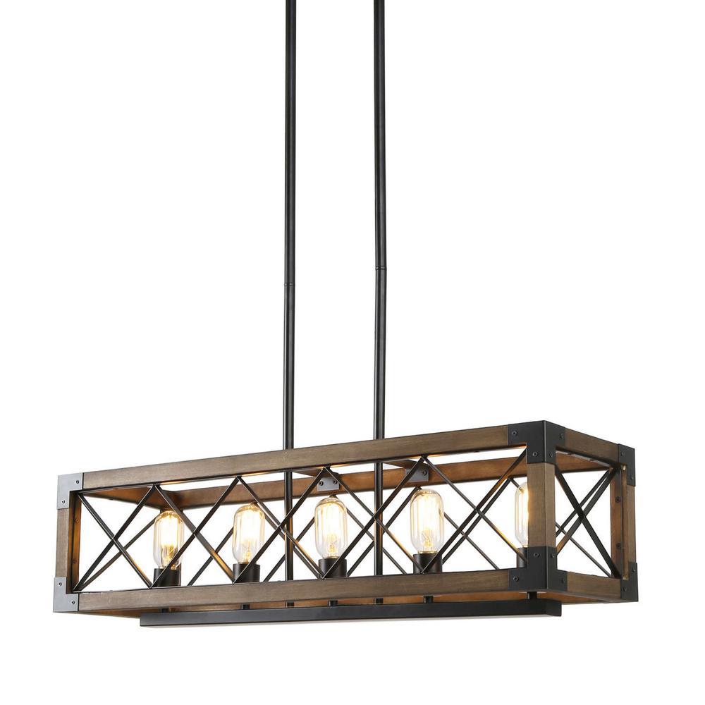 Solid Wood Modern Farmhouse Chandelier, Black Hanging Light Rustic Kitchen Island Lighting, 5-Light Pendant Chandelier