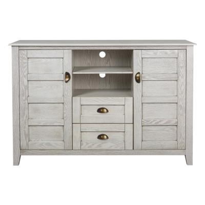 52 in. White Wash Rustic Chic TV Console