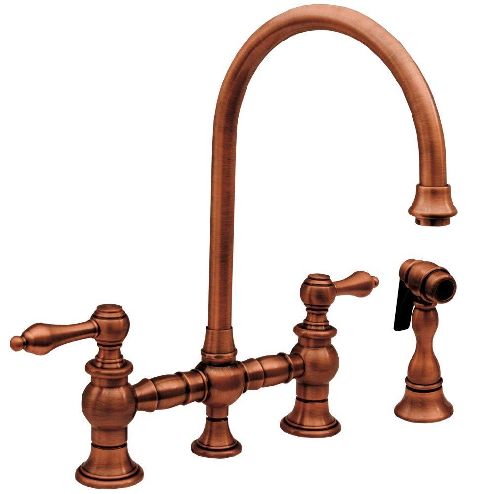 villa faucet weathered faucets kitchen up shown sink copper close impressive