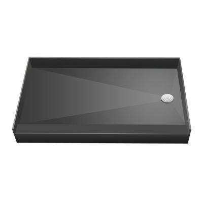 32 in. x 60 in. Single Threshold Shower Base in Grey with Right Drain