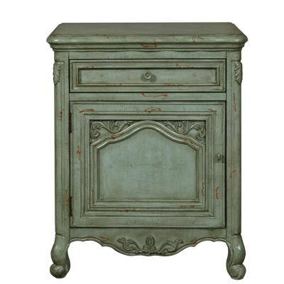 Distressed Green Ornate Accent Door Chest