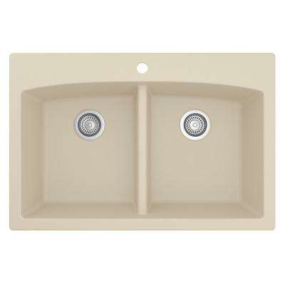 Drop-in Quartz Composite 33 in. Double Bowl Kitchen Sink in Bisque