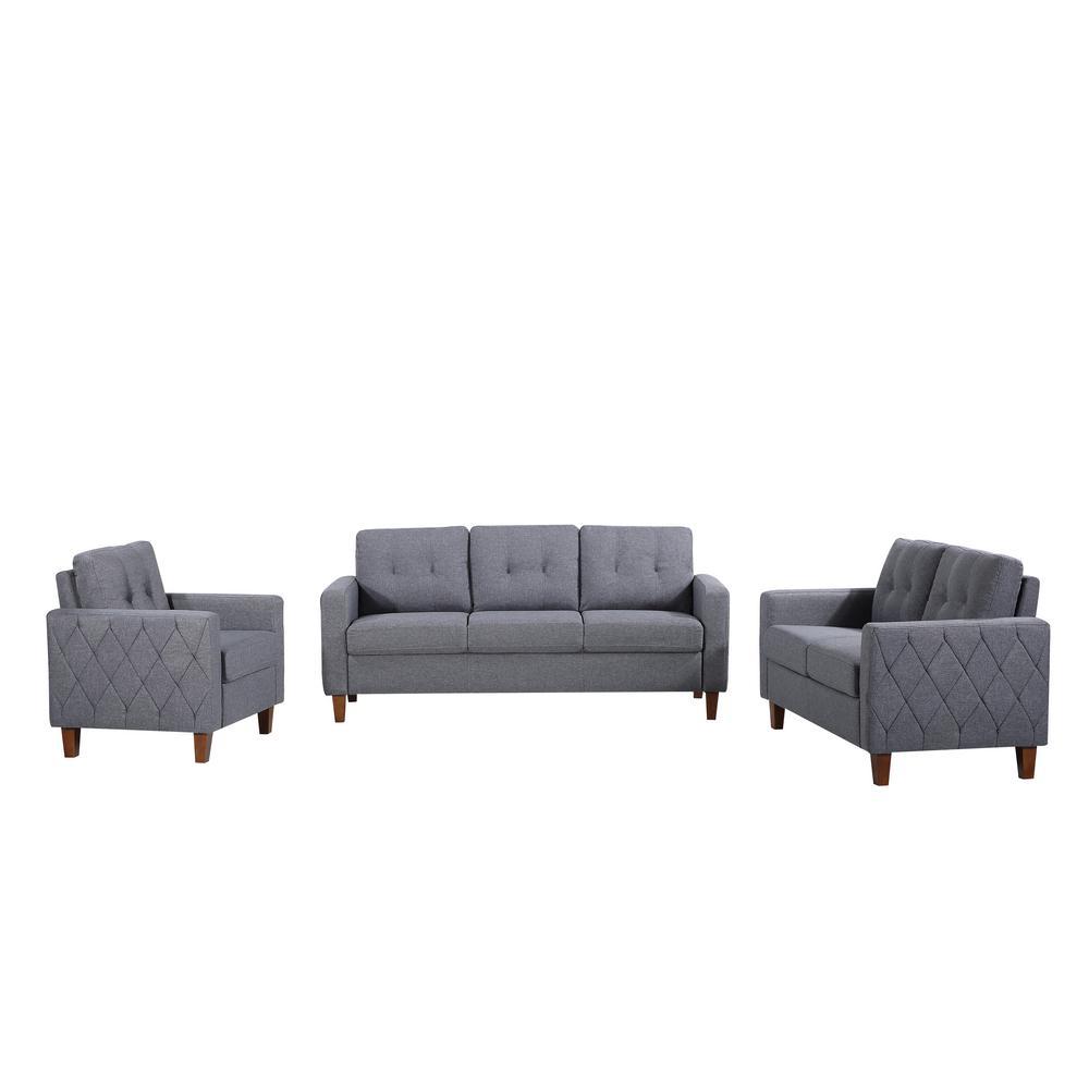 Kartier 3-Piece Gray Mid-Century Linen Fabric Living Room Set