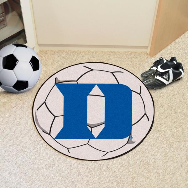 Fanmats Ncaa Duke University White 27 In Round Soccer Ball Area Rug 19582 The Home Depot