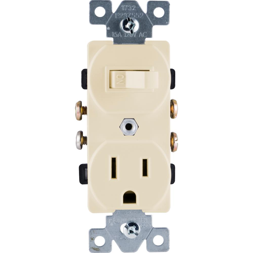 Ge 15 Amp 120 Volt Ac Wall Switch Outlet Light Almond 17820 The Home Depot
