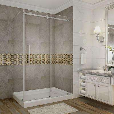 Moselle 48 in. x 35 in. x 77-1/2 in. Completely Frameless Sliding Shower Door Enclosure in Chrome with Right Base