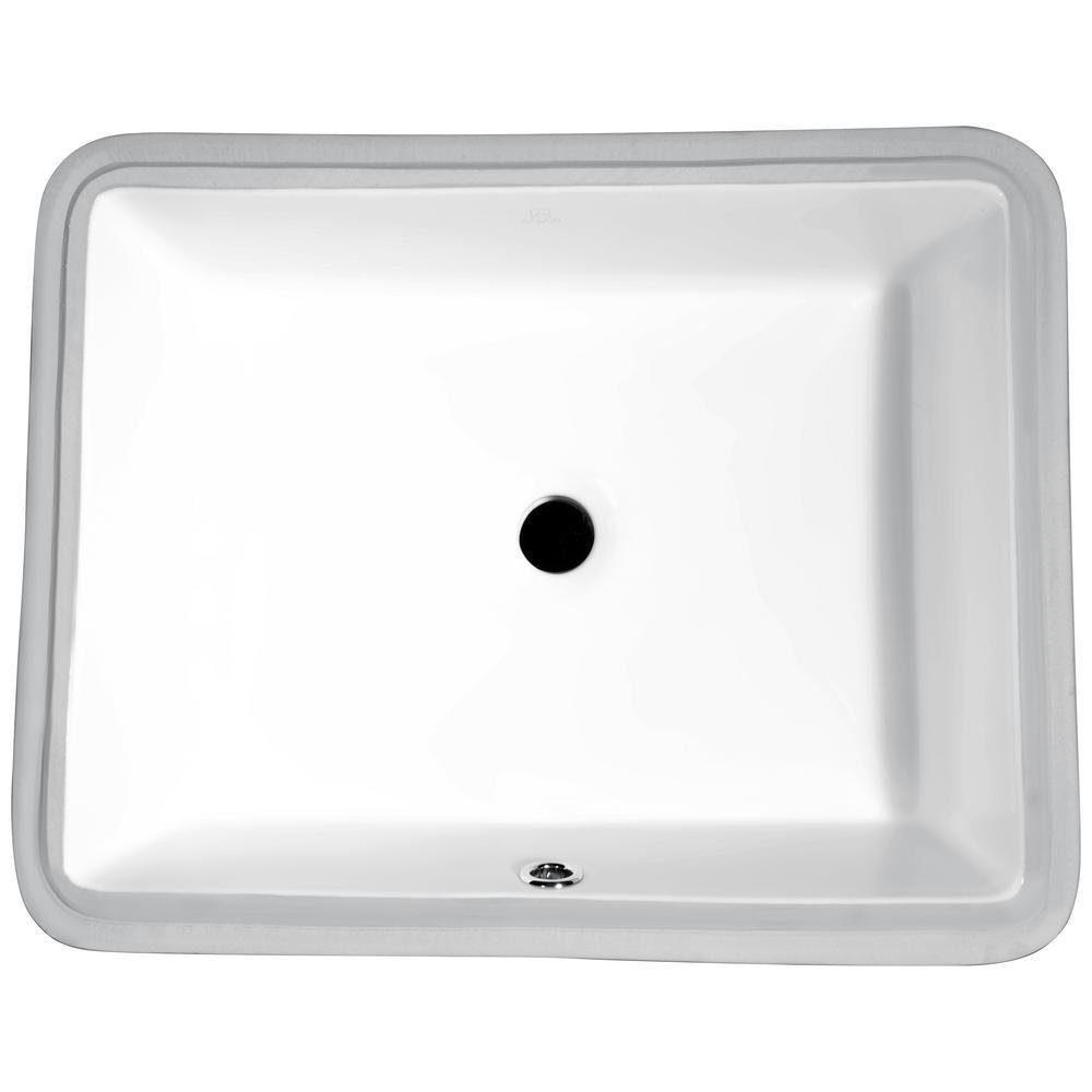 ANZZI Dahlia Series 7.25 in. Ceramic Undermount Sink Basin in White ...