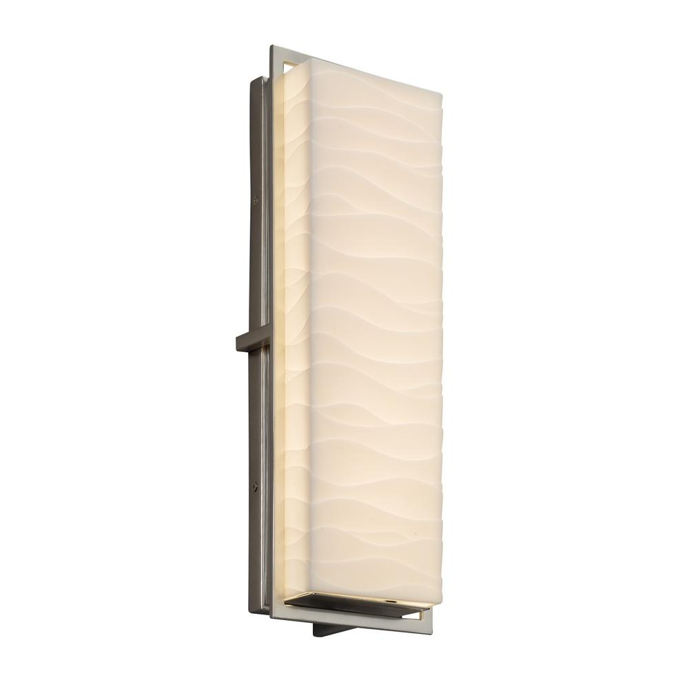 Justice Design Porcelina Avalon Large Brushed Nickel Integrated LED Outdoor Wall Sconce with Waves Shade