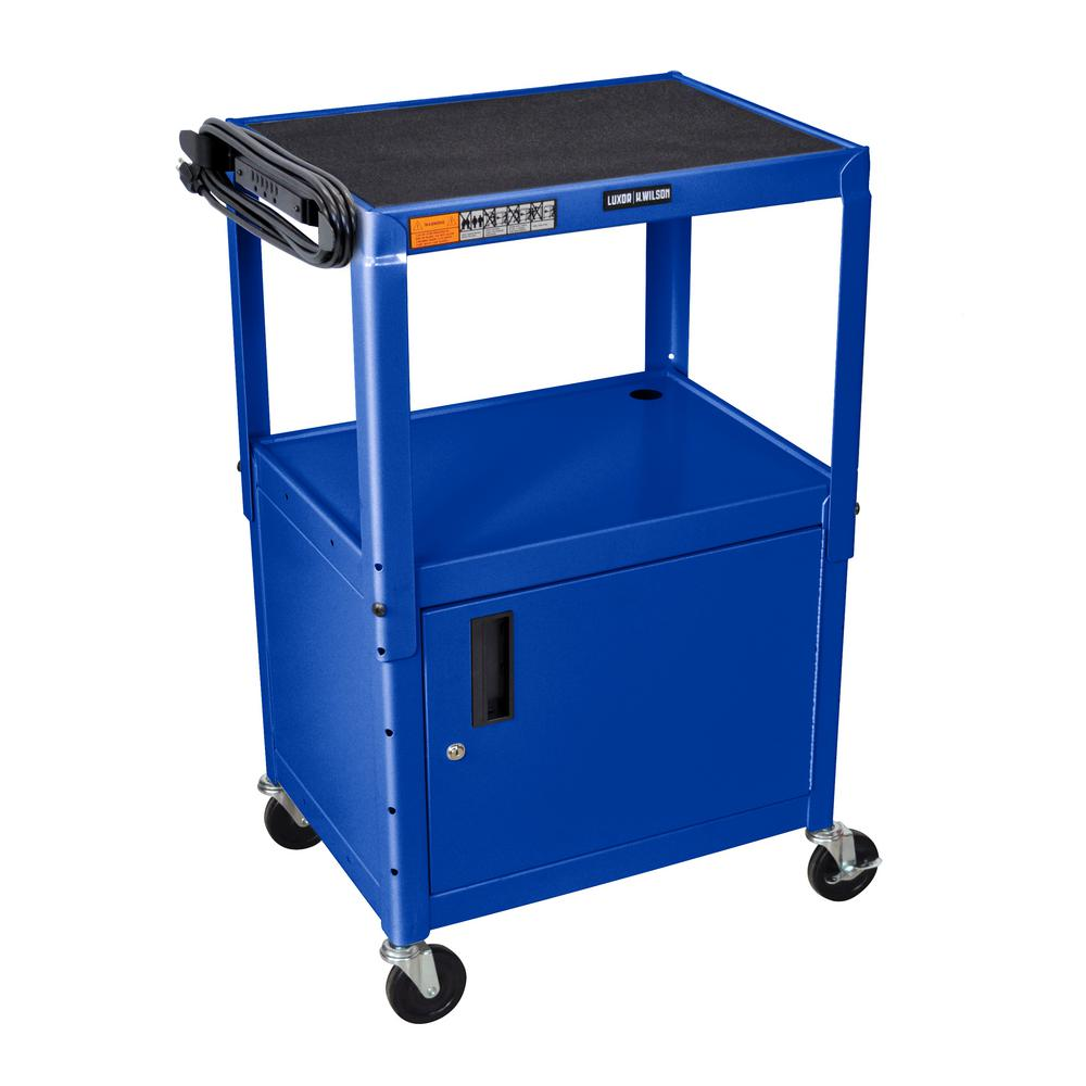 Adjustable Height 24 in. Steel A/V Cart with Cabinet in Blue