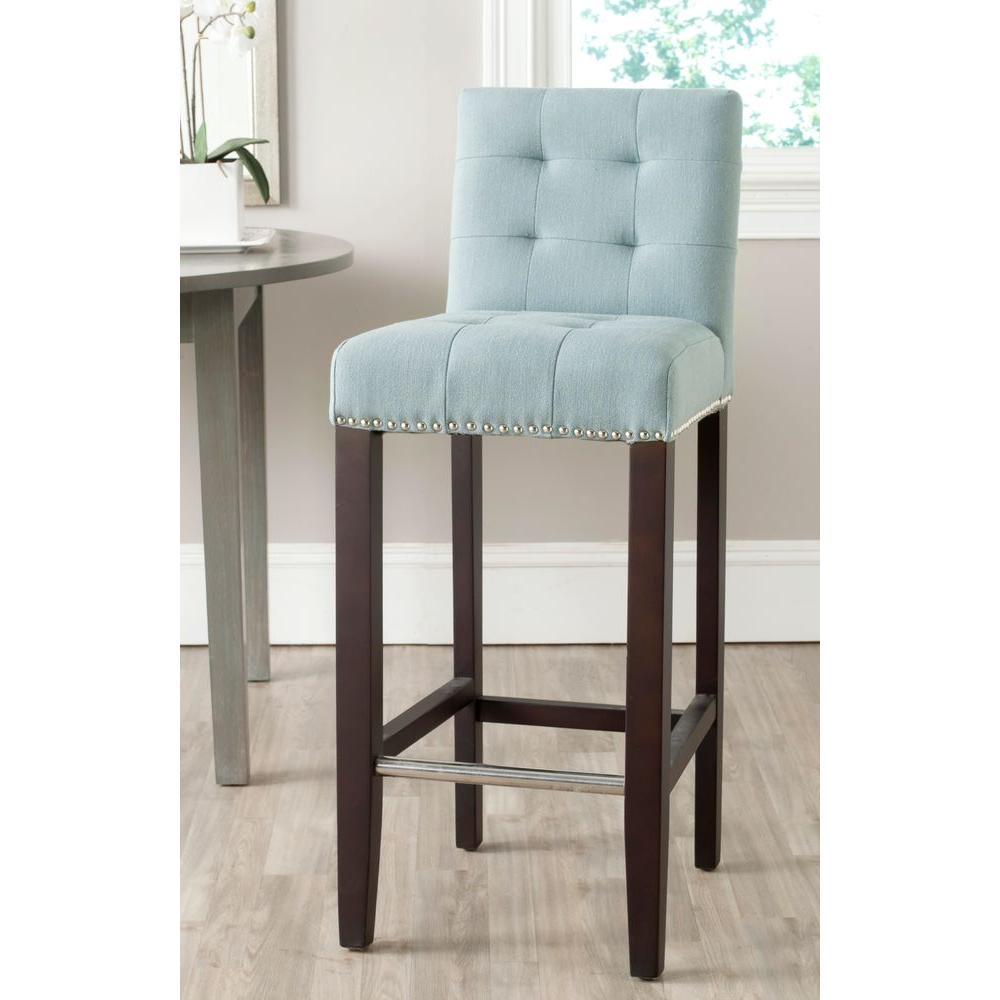 Safavieh Thompson 30 In Sky Blue Cushioned Bar Stool Mcr4505g The