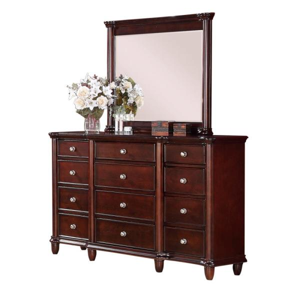 Picket House Furnishings Gavin 12-Drawer Dresser with Mirror in Cherry HM100DRMR