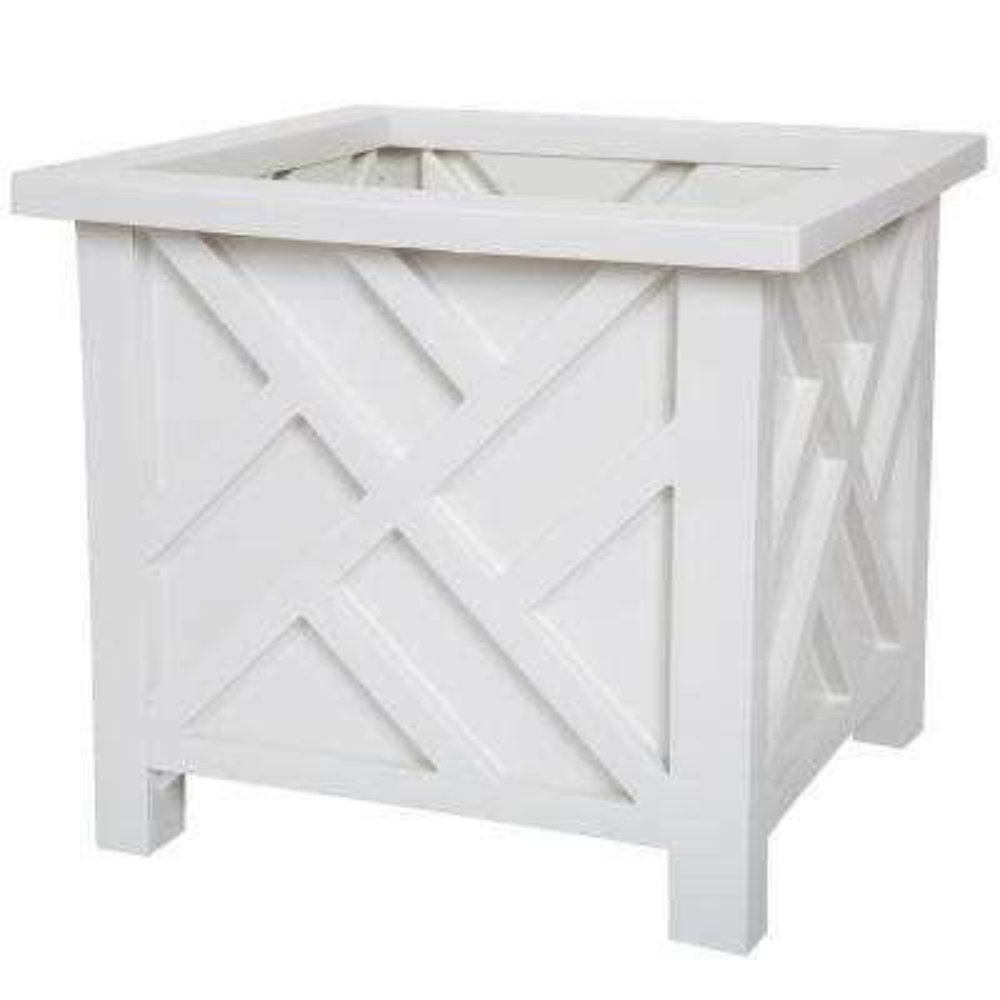 14.75 in. x 14.75 in. White Plastic Garden Planter Box