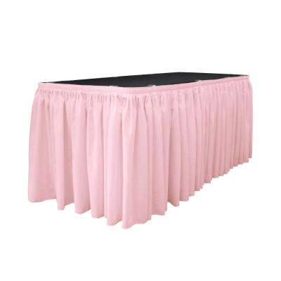 14 ft. x 29 in. Long Light Pink Polyester Poplin Table Skirt with 10 L-Clips