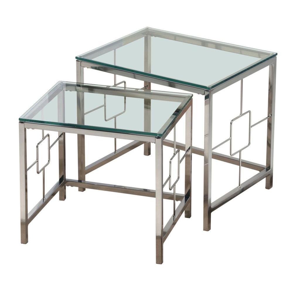 Worldwide Homefurnishings Chrome and Glass Nesting Table Set (2-Piece)