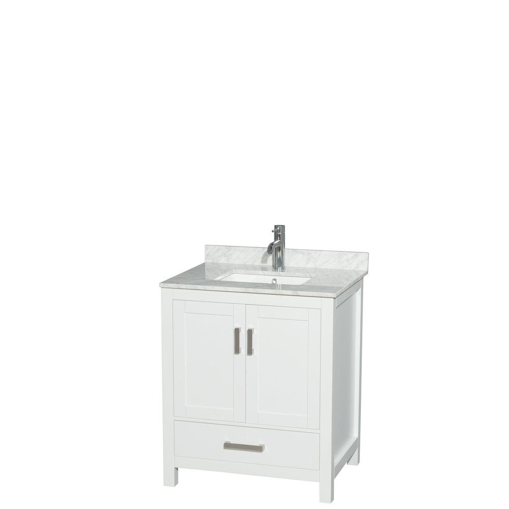 Wyndham Collection Sheffield 30 in. W x 22 in. D Vanity in White with Marble Vanity Top in Carrara White with White Basin