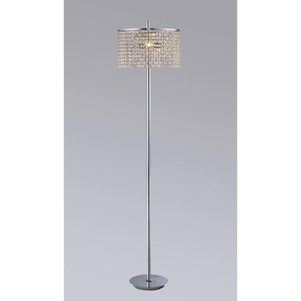 Mia 65 in. Chrome Indoor 3-Light Floor Lamp with Amber Crystal Shade ...