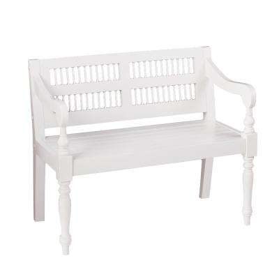 Gustav White Solid Mahogany Turned-Leg Bench