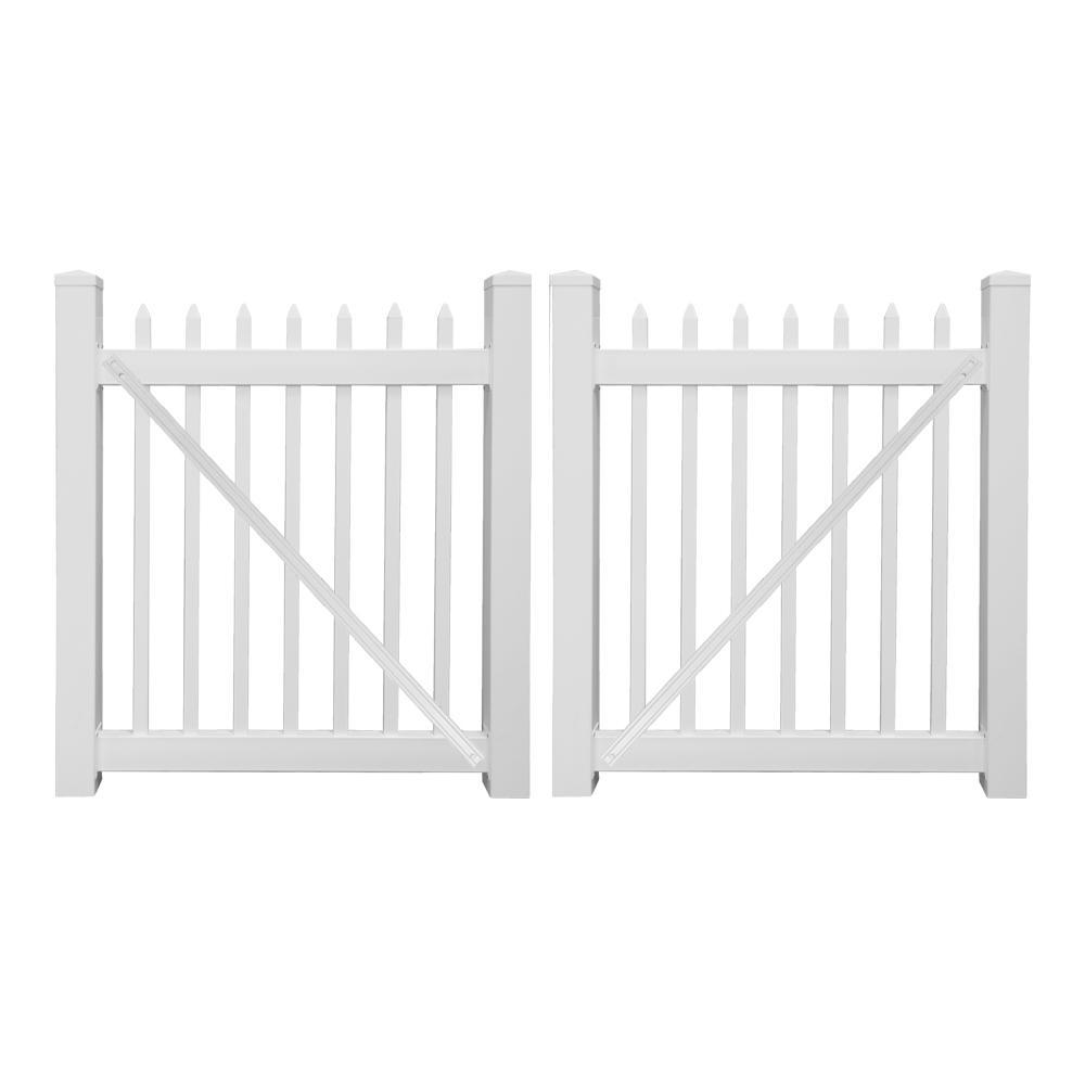 Abbington 8 ft. W x 3 ft. H White Vinyl Picket Fence Double Gate Kit