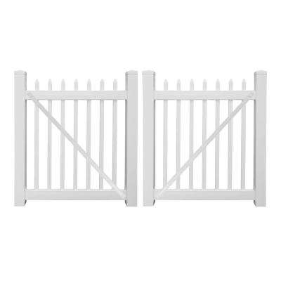 Abbington 8 ft. W x 4 ft. H White Vinyl Picket Double Fence Gate Kit