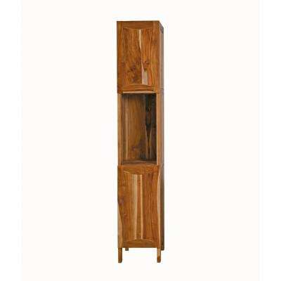 Curvature 13.8 in. L x 16.2 in. W x 78.7 in. H Solid Teak Linen Closet in Natural Teak