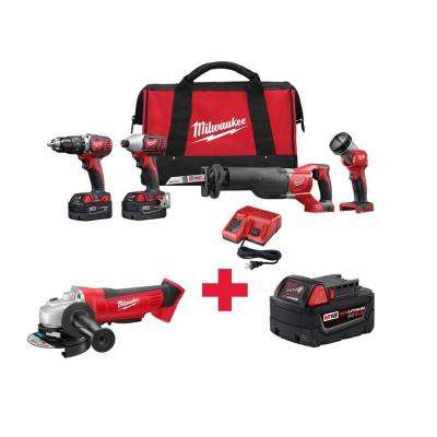 M18 18-Volt Lithium-Ion Cordless Combo Kit (4-Tool) with Free M18 Grinder and M18 5.0AH Battery