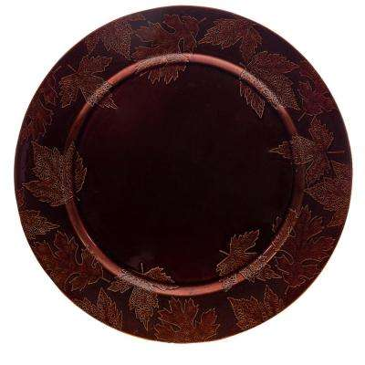 13 in. Embossed Leaf Bronze Plate Charger Set