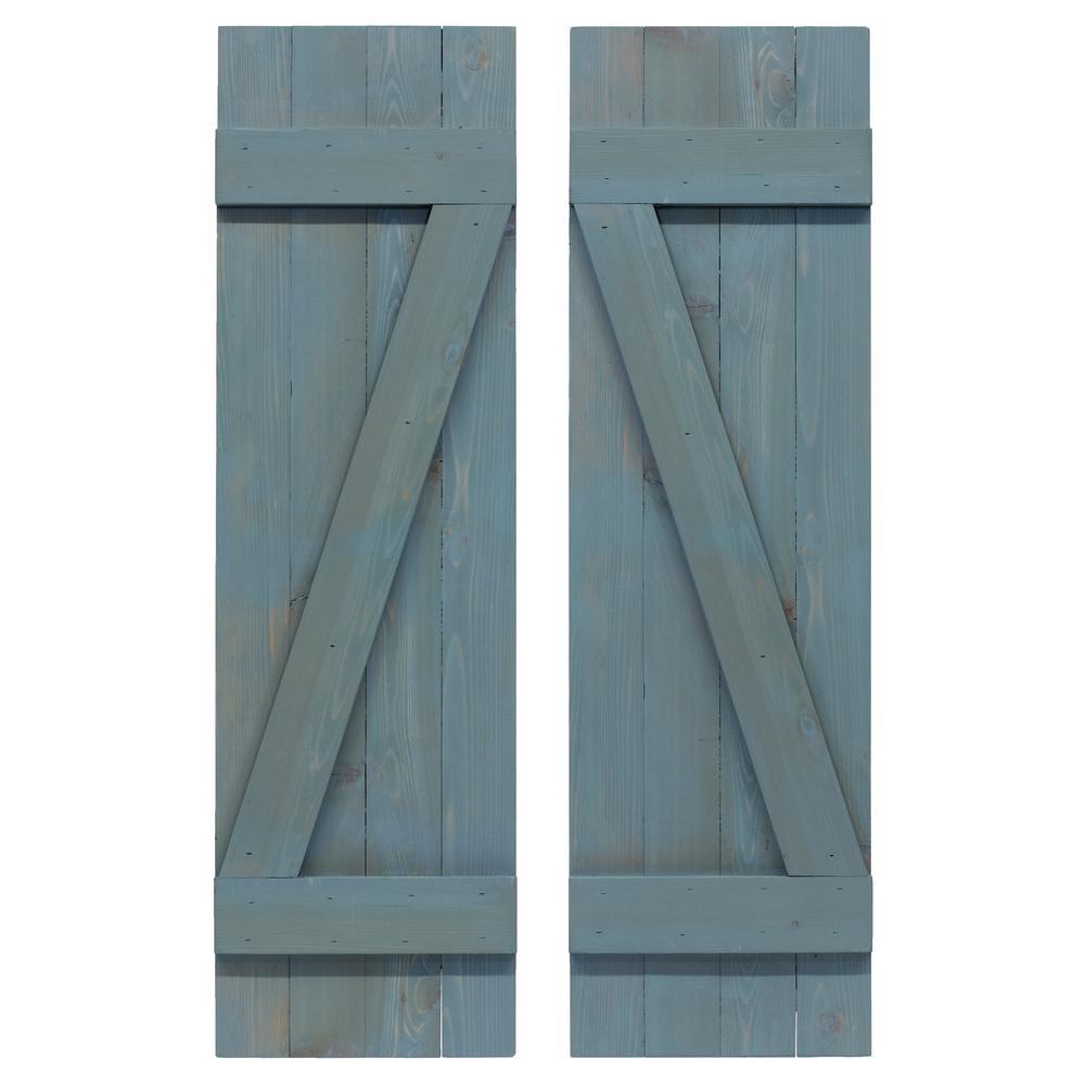 14 in. x 60 in. Cedar Board and Batten Horizontal Slat Shutters Pair