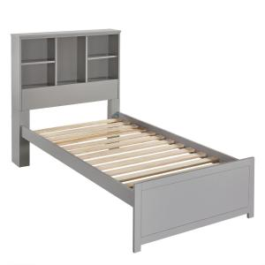 Caspian Gray Twin Bookcase Bed with NightStand