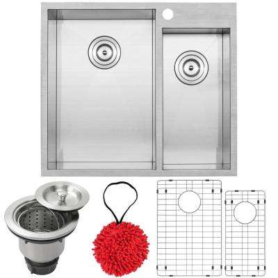 Arlo Zero Radius Drop-in 18-Gauge Stainless Steel 25 in. Double Bowl Kitchen Sink with Accessory Kit