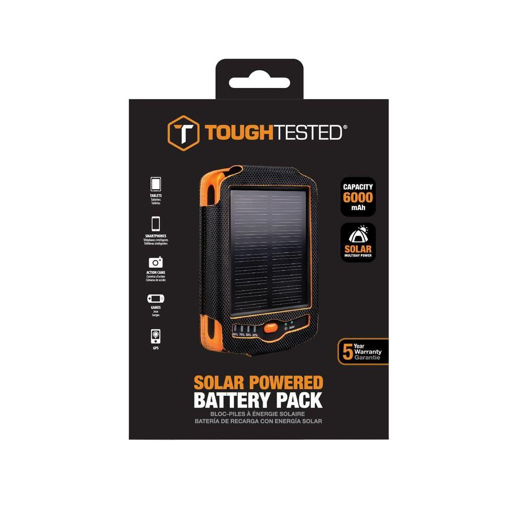 Tough Tested 6000 mAh Solar Battery Pack for Phones and Tablets