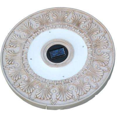 White Outdoor Round Solar LED Stepping Stone Lights (3-Pack)