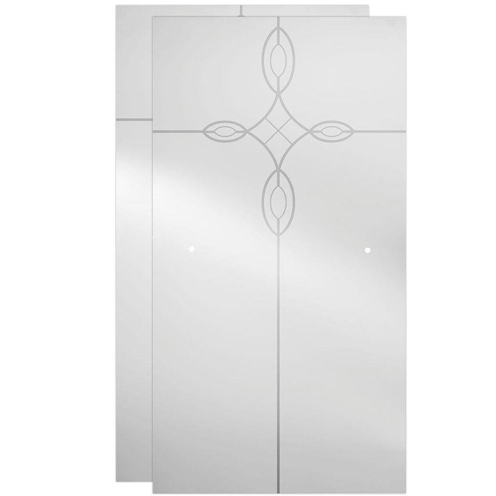 Delta 29-1/32 x 55-1/2 in. x 1/4 in. Frameless Sliding Bathtub Door Glass Panels in Tranquility (1-Pair for 50-60 in. Doors)