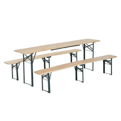 7 ft. Wooden Outdoor Folding Patio Camping Picnic Table Set with 2 Included Benches and a Durable Sturdy Material