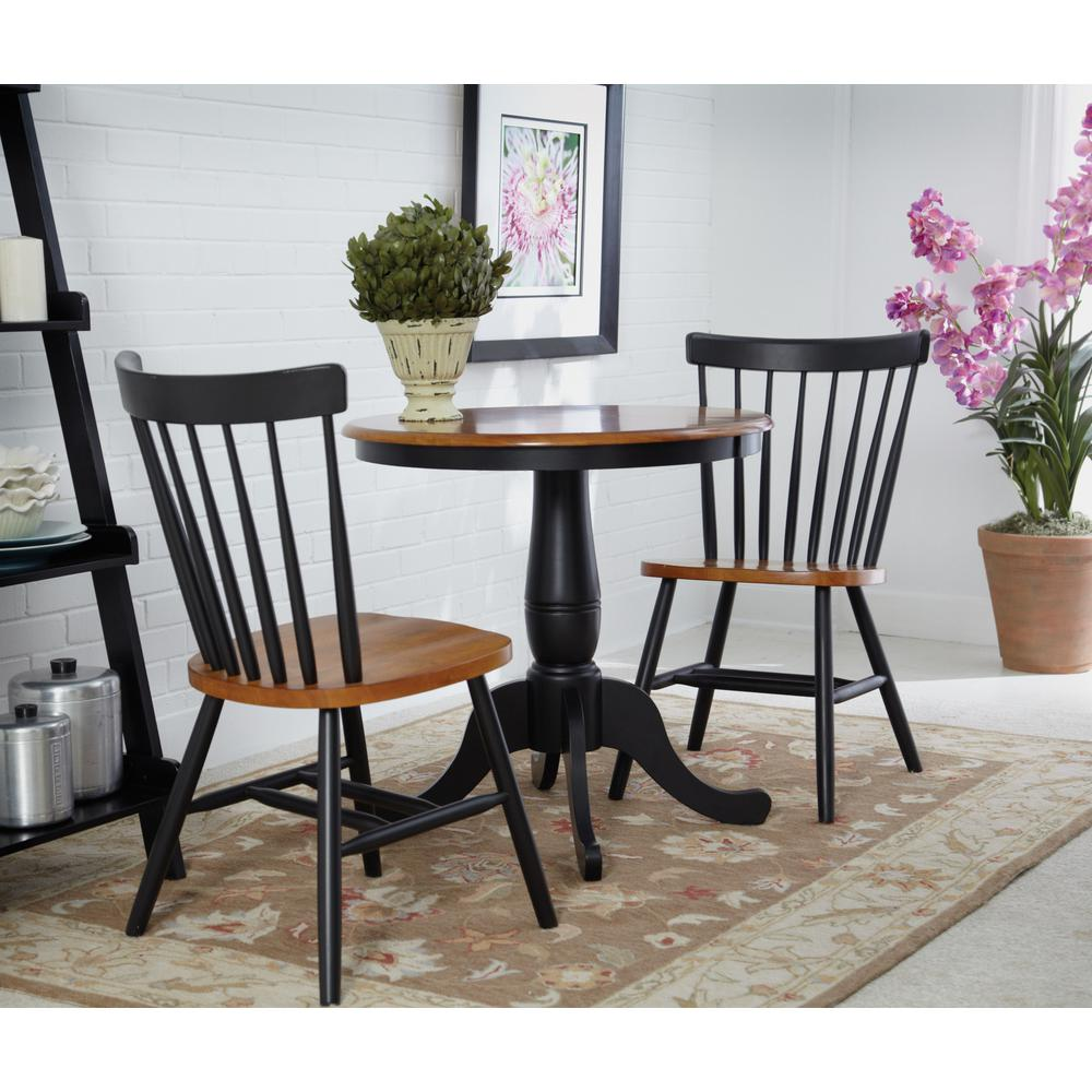 Black And Cherry Solid Wood Dining Table