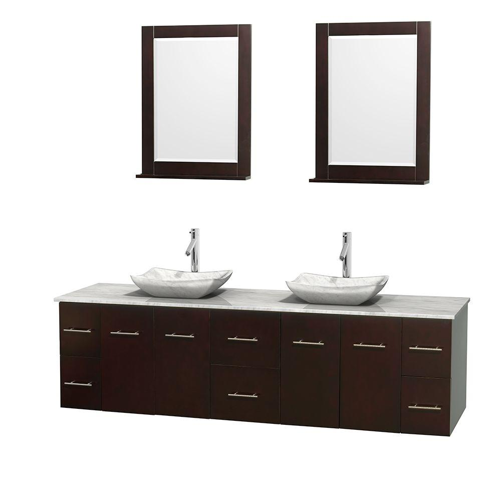 Wyndham Collection Centra 80 in. Double Vanity in Espresso with Marble Vanity Top in Carrara White, Marble Sinks and 24 in. Mirror