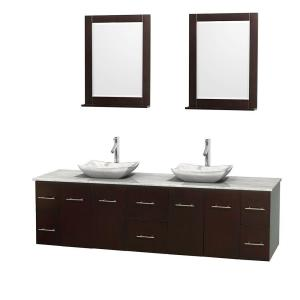 Wyndham Collection Centra 80 inch Double Vanity in Espresso with Marble Vanity Top in Carrara White, Marble Sinks and 24... by Wyndham Collection
