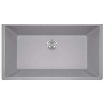 Undermount Granite Composite 32.625 in. 0-Hole Single Bowl Kitchen Sink in Silver