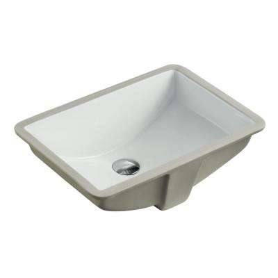 21-1/2 in. x 15-1/4 in. Rectrangle Undermount Vitreous Glazed Ceramic Lavatory Vanity Bathroom Sink Pure White
