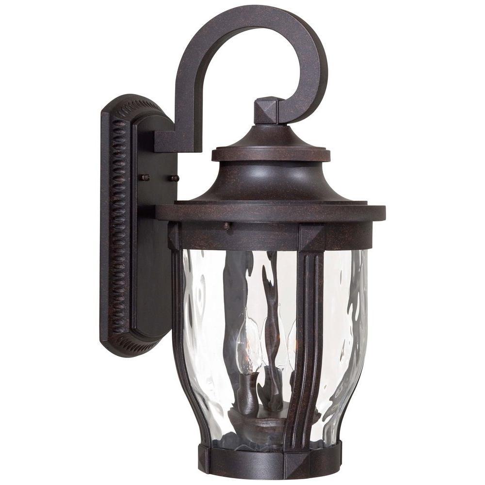 Merrimack 3-Light Corona Bronze Outdoor Wall Lantern Sconce
