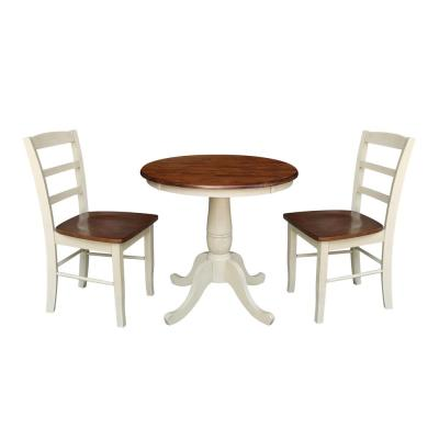 Almond and Espresso Solid Wood 30 in. Round Dining Table with 2-Madrid chairs (3-Piece Set)