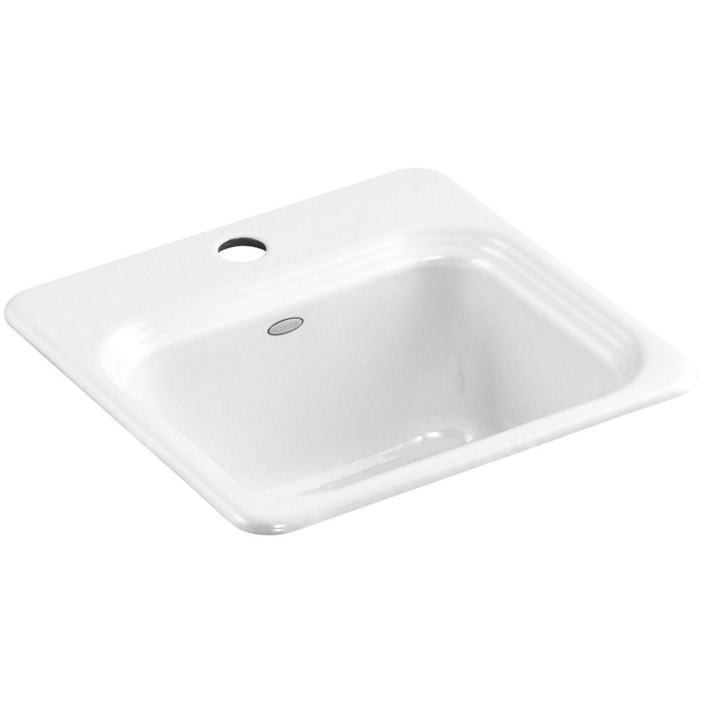KOHLER Northland Drop-In Cast-Iron 15 in. 1-Hole Single Bowl ...