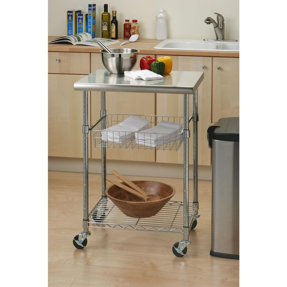 Superbe Seville Classics Stainless Steel Kitchen Cart With Shelf SHE18321B   The  Home Depot
