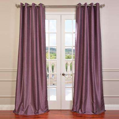 Smokey Plum Purple Grommet Blackout Vintage Textured Faux Dupioni Silk Curtain - 50 in. W x 96 in. L
