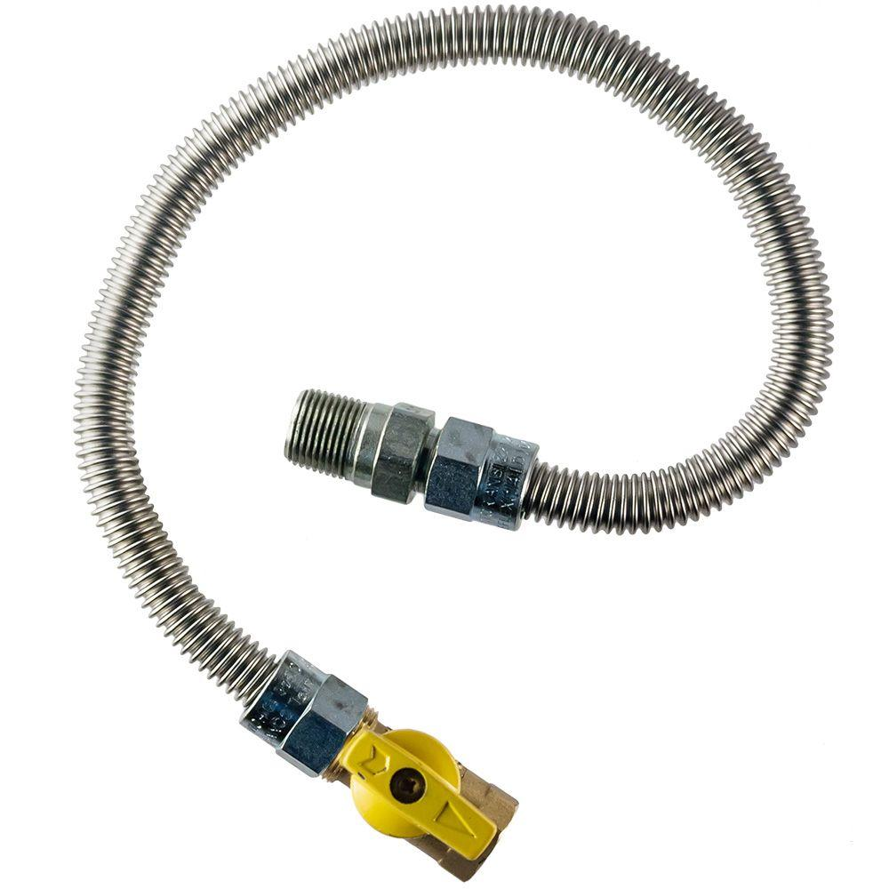 HOME-FLEX 1/2 in. MIP x 1/2 in. FIP Gas Valve x 18 in. Heater Connector 3/8 in O.D.
