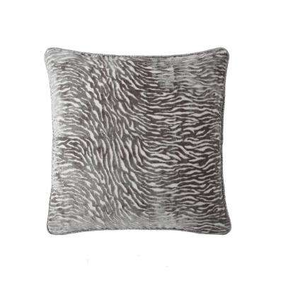 Morgan Home 18 in. Zoey Silver Zebra Throw Pillow Cover