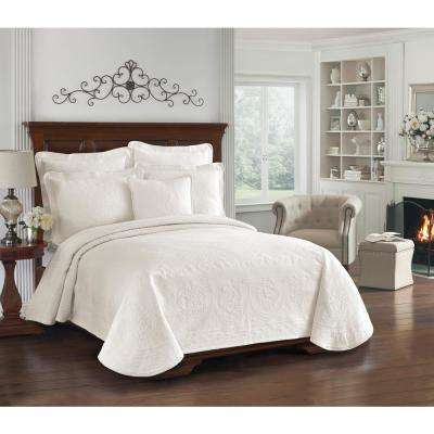King Charles Ivory Matelasse Cotton Twin Coverlet